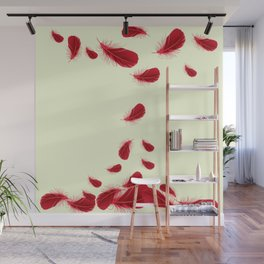SURREAL FLOATING SCARLET RED FEATHERS Wall Mural