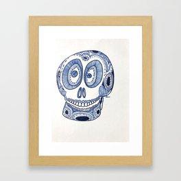 Blue Skull Framed Art Print