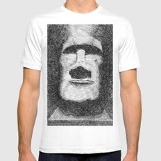 Easter island - Moai statue - Ink MEDIUM White Mens Fitted Tee