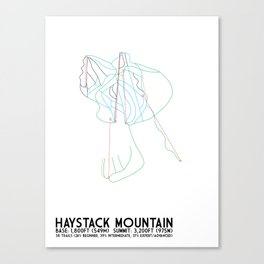 Haystack Mountain, VT - Minimalist Winter Trail Art Canvas Print