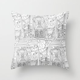 doodle cartoon village Throw Pillow