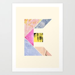 Collaged Tangram Alphabet - E Art Print