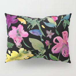 Contrast Pink and Yellow Watercolor Florals on Black Background Pillow Sham
