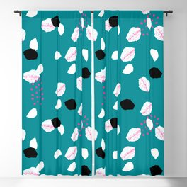 Geometrical abstract pink white dark cyan pattern Blackout Curtain