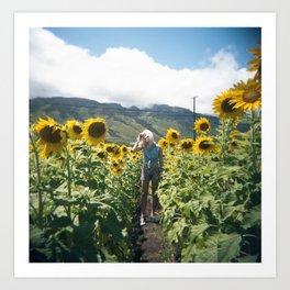 Swimming in Sunflowers in Hawaii Art Print