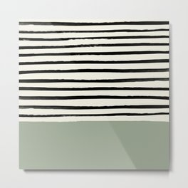 Sage Green x Stripes Metal Print
