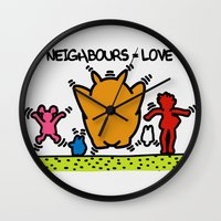 keith haring Wall Clocks featuring Keith Haring & The neighbours by le.duc