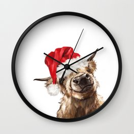 Christmas Highland Cow Wall Clock