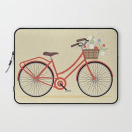 Flower Basket Bicycle Illustration Laptop Sleeve