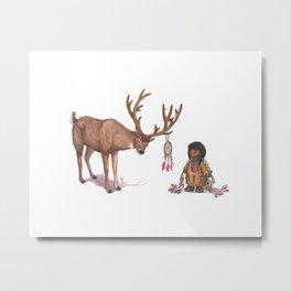 Girl meets Deer Metal Print