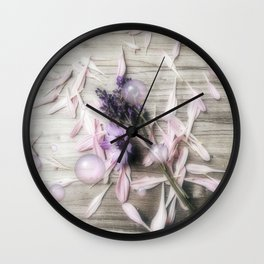 Bubbles, flowers, petals, and planks Wall Clock