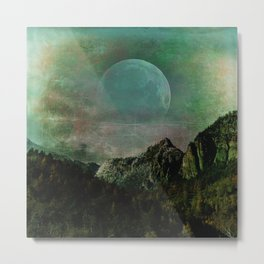 The Jade Rugged Moon Metal Print