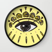 kenzo Wall Clocks featuring Kenzo eye yellow by cvrcak