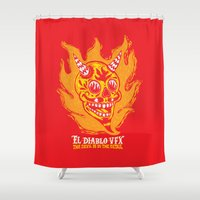 diablo Shower Curtains featuring El Diablo VFX  by El Diablo VFX