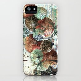 Abstract textured pastel floral still life iPhone Case