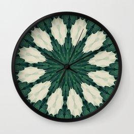 Tropical Sacramento Green and Silver Leaf Mandala Wall Clock