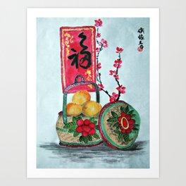 Basket full f Mandarin Oranges Art Print