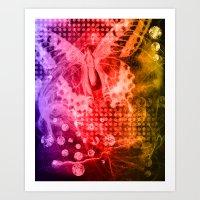 tye dye Art Prints featuring Tye-Dye Butterfly by Rushni