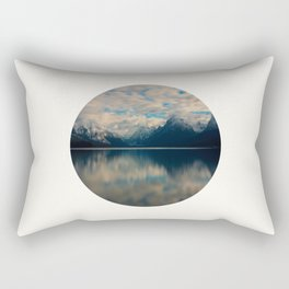 Mid Century Modern Round Circle Photo Reflective Blue Mountain Range Rectangular Pillow