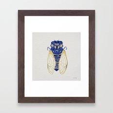 Cicada – Navy & Gold Framed Art Print