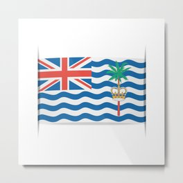 Flag of British Indian Ocean Territory. The slit in the paper with shadows.  Metal Print