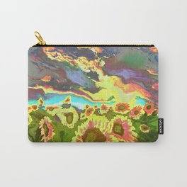 Vibrant Vibrations of Sunset Sunflowers Carry-All Pouch