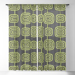 Mid Century Modern Atomic Rings Pattern Black and Chartreuse Sheer Curtain