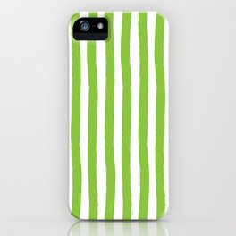 Green and White Cabana Stripes Palm Beach Preppy iPhone Case