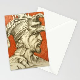 Young nobleman with helmet and dog. Michelangelo Buonarroti Stationery Cards