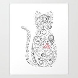 Black Cat on White World Art Print