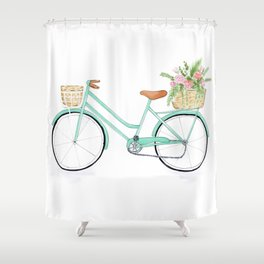 Vintage mint green bicycle Shower Curtain