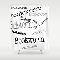 bookworm Shower Curtains featuring Bookworm by ImagineMillions