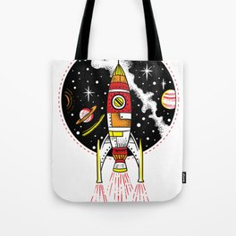 Retro rocket ship launching outer space shuttle Tote Bag
