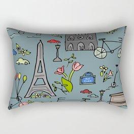 Cycling Through Paris Rectangular Pillow