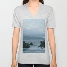 View of Golden Gate Bridge from Sutro Baths Unisex V-Neck