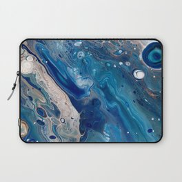 Blue Marbled Fluid Painting Unique Swirls Water Laptop Sleeve