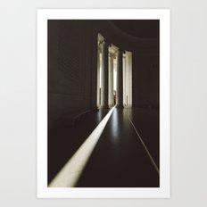 Sunbeams at the Jefferson Memorial in Washington DC Art Print