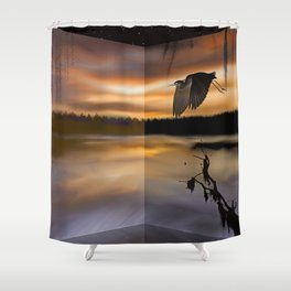 Great Blue Heron on the Bayou Shower Curtain