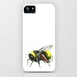 Bumblebee, minimalist bee honey making art, design black yellow iPhone Case