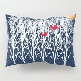 Red Doves and the golden moon Pillow Sham