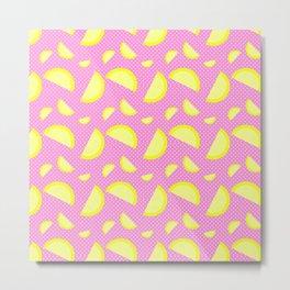 LLEMONADEE - Lemon, Fruit, Fun, Yellow, Pink, Polka Dot, Summer Metal Print