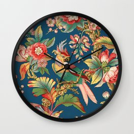 Antique French Chinoiserie in Blue Wall Clock