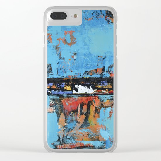 Stallion Blue Modern Painting Abstract Art Landscape Clear iPhone Case