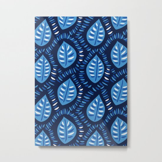 Beautiful Decorative Blue Leaves Pattern Metal Print