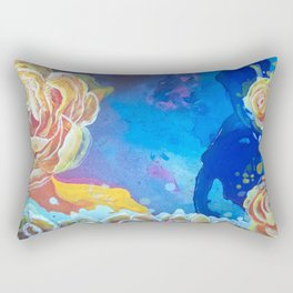 Mad Lucy's Golden Roses. Yellow Roses and Galaxy Blue. Rectangular Pillow