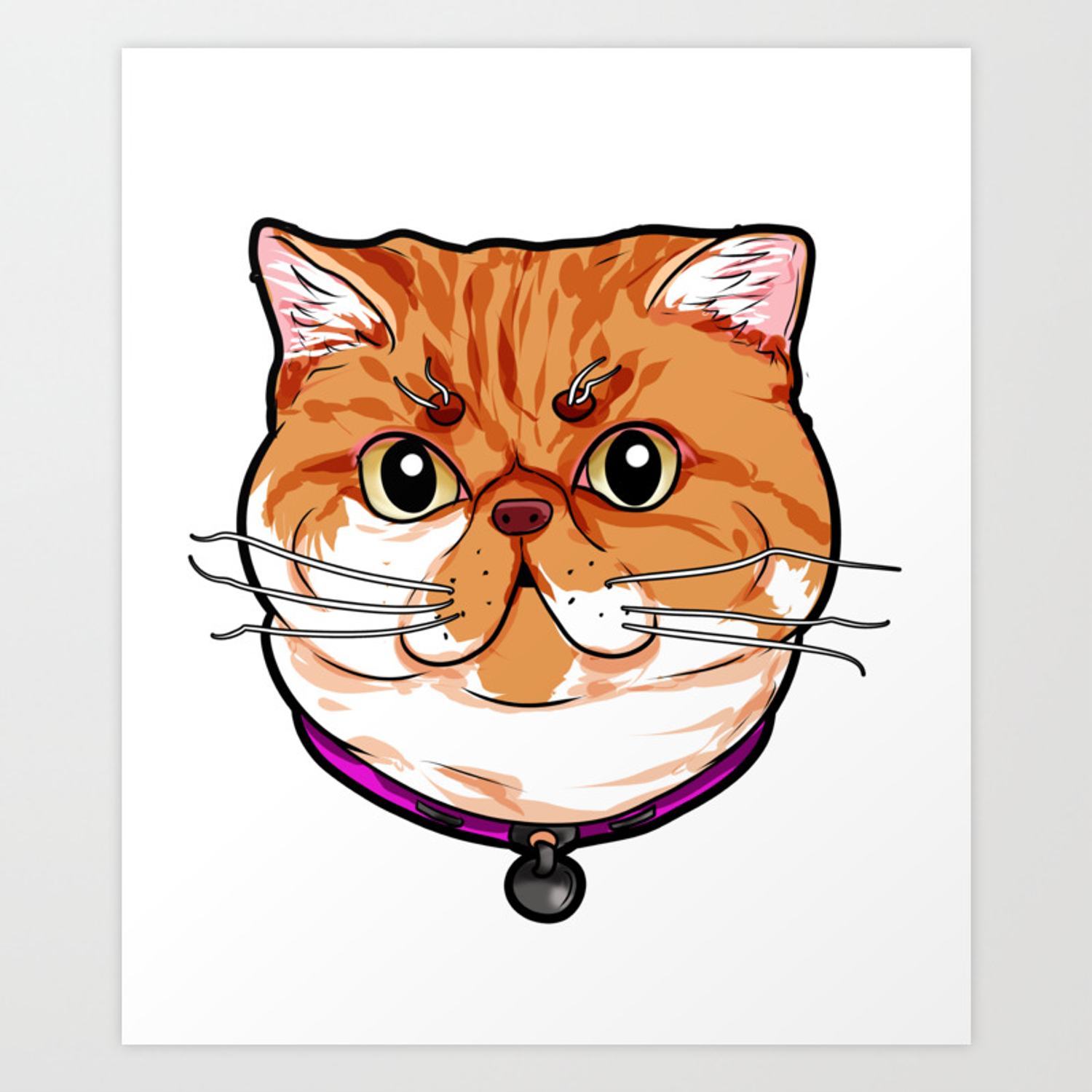 Exotic Shorthair Cat Cats Face Cute Sweet Cartoon Art Print By