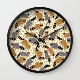 Adorable Racoon Friends, Animal Pattern in Nature Colors of Grey and Brown with Paw Prints Wall Clock