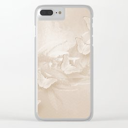 Fabulous butterflies and wattle with textured chevron pattern in subtle iced coffee Clear iPhone Case