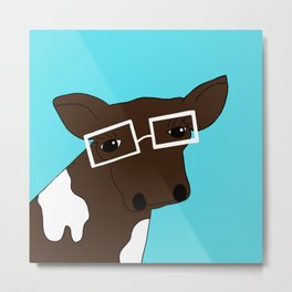 Matilda the Hipster Cow Metal Print