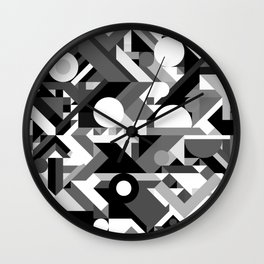 GEOMETRY SHAPES PATTERN PRINT (BLACK AND WHITE COLOR SCHEME) Wall Clock